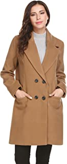 Women Peacoat Winter Outdoor Wool Blended Classic double breasted Pea Coats Jacket