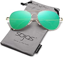 SojoS Aviator Mirrored Flat Lens Sunglasses Metal Frame with Spring Hinges SJ1030