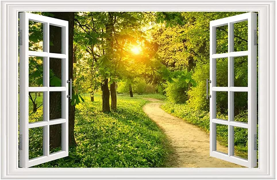 Green Forest Sunshine Fake Window Wall Sticker| Forest Path 3D Window Wall Vinyl Decal| Nature Removable Window Wall Mural for Bedroom Living Room Decoration (23.6