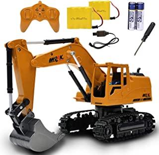 Channel Full Functional Remote Control Excavator Toy with Metal Shovel, Rechargeable Construction Vehicle with Sound & Flashing Lights for 3 4 5 6 7 8 Year Old Boys and Girls Birthday Gifts