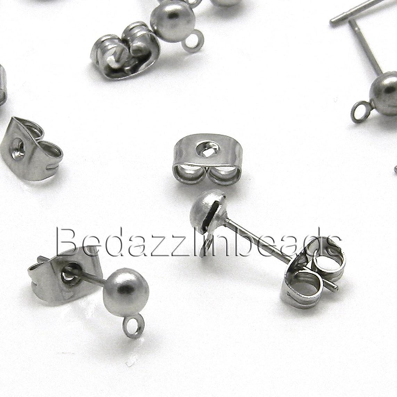 20 Dark Silver Stainless Surgical Steel 4mm Half Ball With Loop Stud Earring Findings