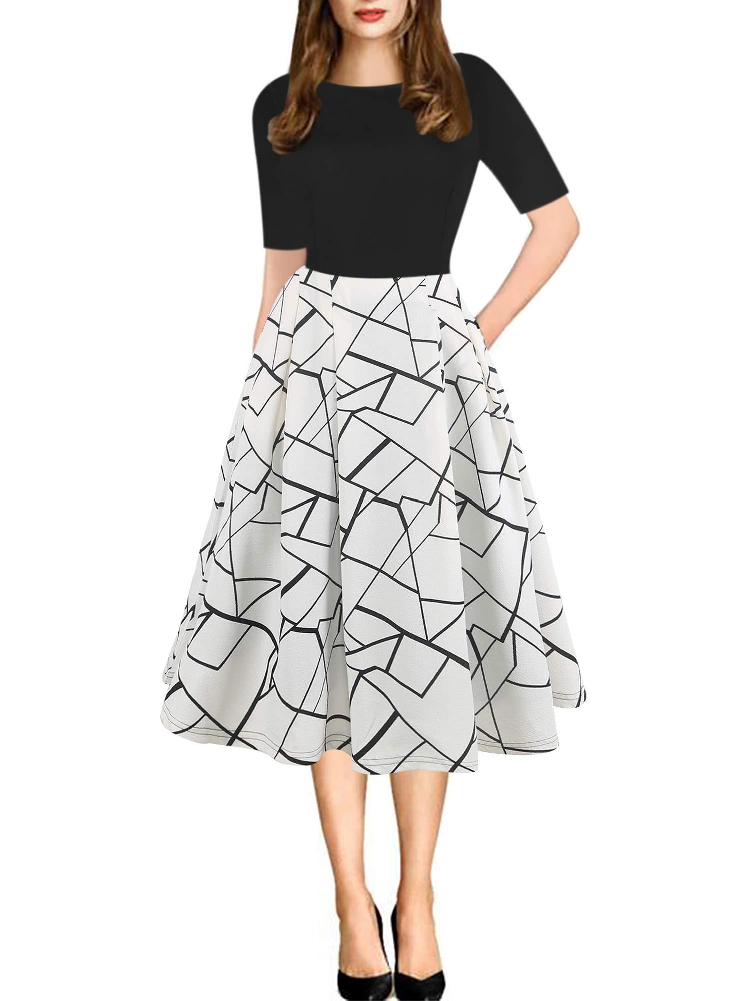 oxiuly 女式复古拼接口袋蓬蓬裙摆休闲派对连衣裙 ox165