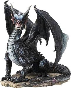 Rare Black Dragon Upon Rock Statue Figurine Sculpture