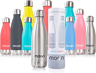 Moon Bottles - Insulated Stainless Steel Water Bottle & Vacuum Flask, 24hr Cold,12hr Hot, Double Walled Metal Reusable Dri...