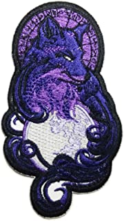 Violet Wolf with The Moon Motorcycle Leather Jackets Custom Patches Appliques Fabric Decorating for Hat Cap Polo Backpack Clothing Jacket T-Shirt DIY Embroidered Iron On/Sew On Patch