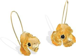 Orecchini a forma di Papavero in Argento Placcato Oro 24k. Orecchini Pendenti a Gancio Lungo. Orecchini a Fiore in Oro.
