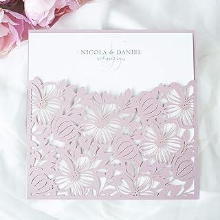 Partecipazioni matrimonio taglio laser fai da te inviti matrimonio carta rosa nebbiosa con busta - campione prestampato !!