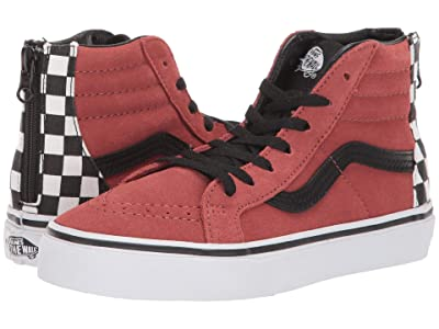 Vans Kids Sk8-Hi Zip (Little Kid/Big Kid) ((Suede) Redwood/Black) Boys Shoes