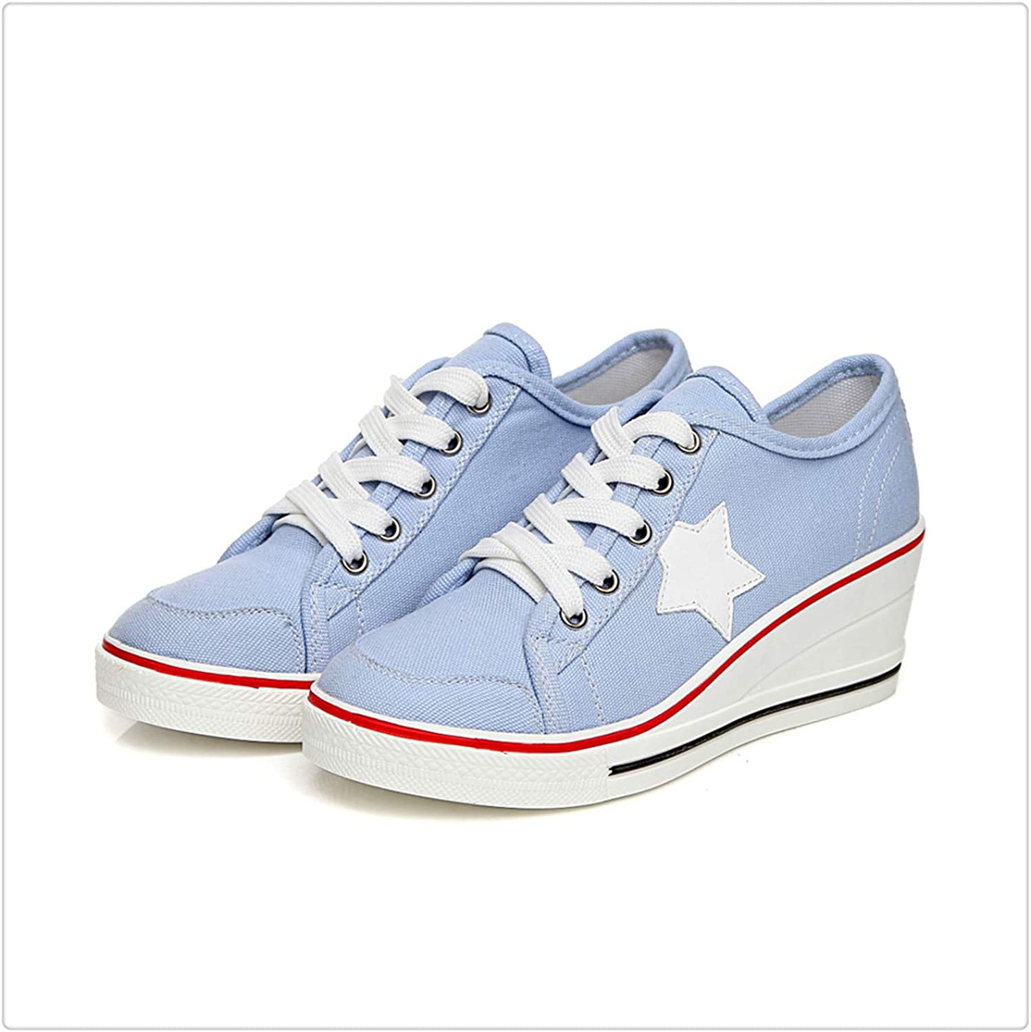 KKEPO& Fashion Women High Wedge Canvas shoes Woman Casual shoes Comfortable Lace Up Platform Sneakers Wedges Denim shoes Breathable 03 bluee 6