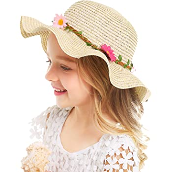 QTKJ Girls Boys Anti-UV Sun Straw Hat Wide Brim Sunflower Beach Hat with Multi-Colors Beads Decorative Summer Cap Khaki