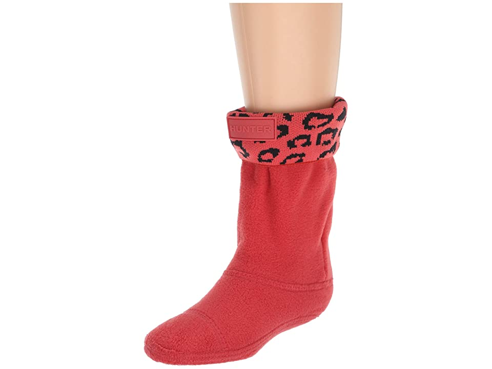Hunter Kids Snow Leopard Cuff Boot Sock (Toddler/Little Kid/Big Kid) (Honey Suckle Leopard Jacquard) Girls Shoes