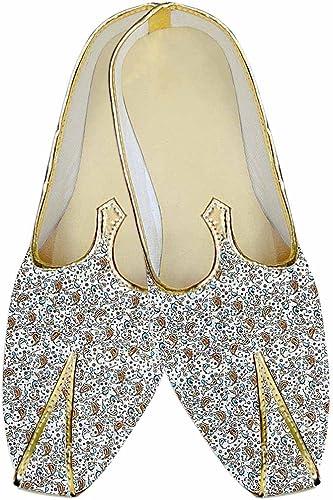INMONARCH Herren Creme Hochzeit Schuhe Paisley Gedruckt MJ015186