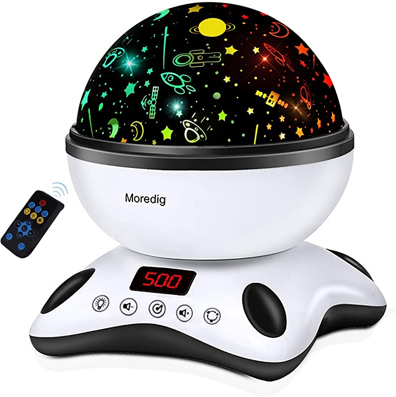 Moredig Night Light Projector Remote Control And Timer Design Projection Lamp Built In 12 Light Songs 360 Degree Rotating 8 Colorful Lights For Children Kids Birthday Parties Black White