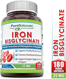 Pure Naturals Iron Bisglycinate 25 Mg 180 Veggie Capsules (Non-GMO)- Supports Healthy Muscle Function* Promotes Red Blood Cell Production* Supports Oxygen Supply to Tissue & Organs*