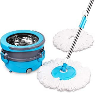 Spin Mop Easy Wring Microfiber Cleaning System, Stainless Steel CXhome 360 Spin Dry Mop with Bucket Washable Hardwood Floor Cleaner with 2 Mop Heads