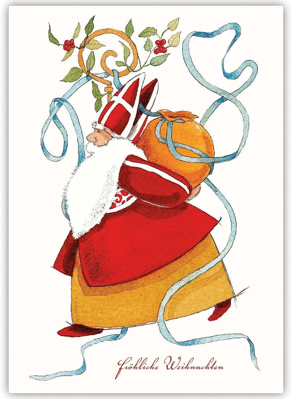100er Weihnachtskarten Set Klassische Unternehmen Weihnachtskarten mit gemaltem Weihnachtsmann, heiligem heiligem heiligem Nikolaus, innen blanko  weiß als geschäftliche Weihnachtsgrüße   Glückwunsch zu Neujahr   Weihnachtskarte an Firmenkunden,  b4da1c