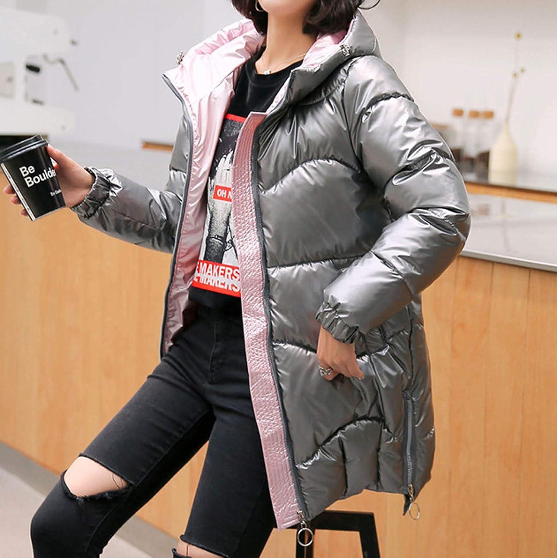 Auifor Damen Winter Daunenjacken, Plüsch Kapuzenkragen, Taschen Reißverschluss glänzend lose Kapuze Mantel Outwear(,) Grau
