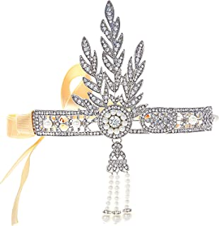 Coucoland 1920s Flapper Headband Roaring 20s Great Gatsby Inspired Headpiece Vintage 1920s Flapper Gatsby Accessories Leaf Style with Pearl Silver-Tone