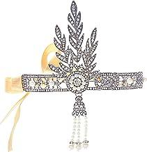 ArtiDeco 1920 Diadema con Cuentas Cinta para el Pelo con Cristal Vintage Años 20 Flapper Pelo Banda Disfraz Gatsby Accesorio