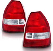AmeriLite 3 Door Taillights Red/Clear for Honda Civic - Passenger and Driver Side