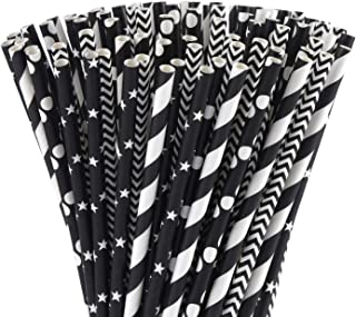ALINK Biodegradable Black Paper Straws, 100 Stars/Dots/Stripes/Waves Drinking Straws for Juice, Cocktail, Smoothies, Birthday, Wedding, Bridal/Baby Shower and Celebration