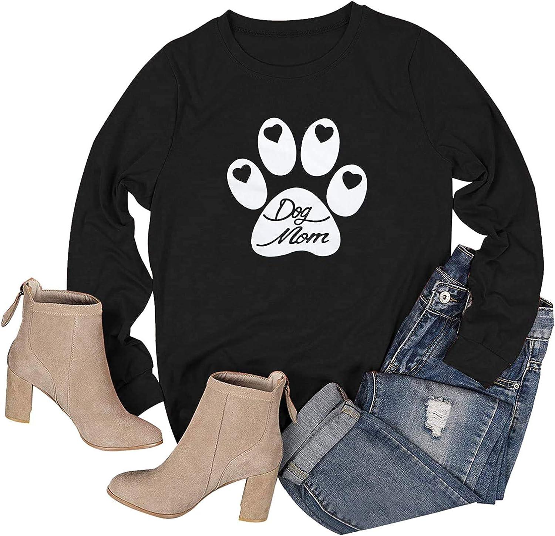 Dog Mom Sweatshirt Women Cute Puppy Paw Graphic T-Shirt Long Sleeve Casual Blouse
