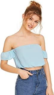Women's Tie Front Strapless Off Shoulder Ruffle Short Sleeve Blouse Crop Top