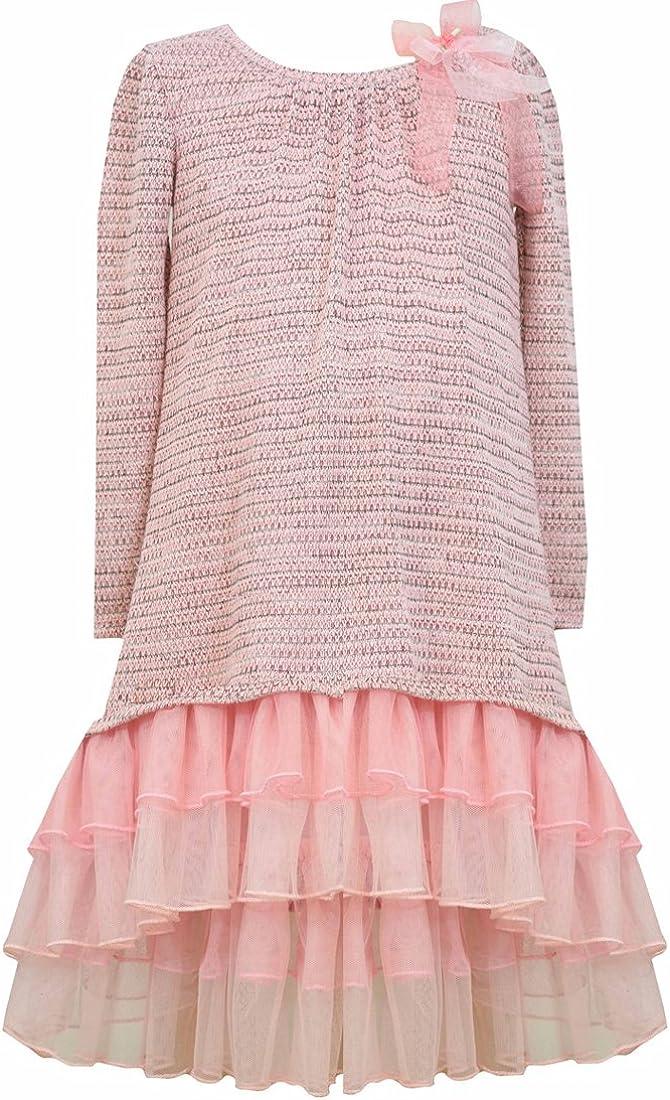 Bonnie Jean Girls' High Low Dress with Mesh Ruffles