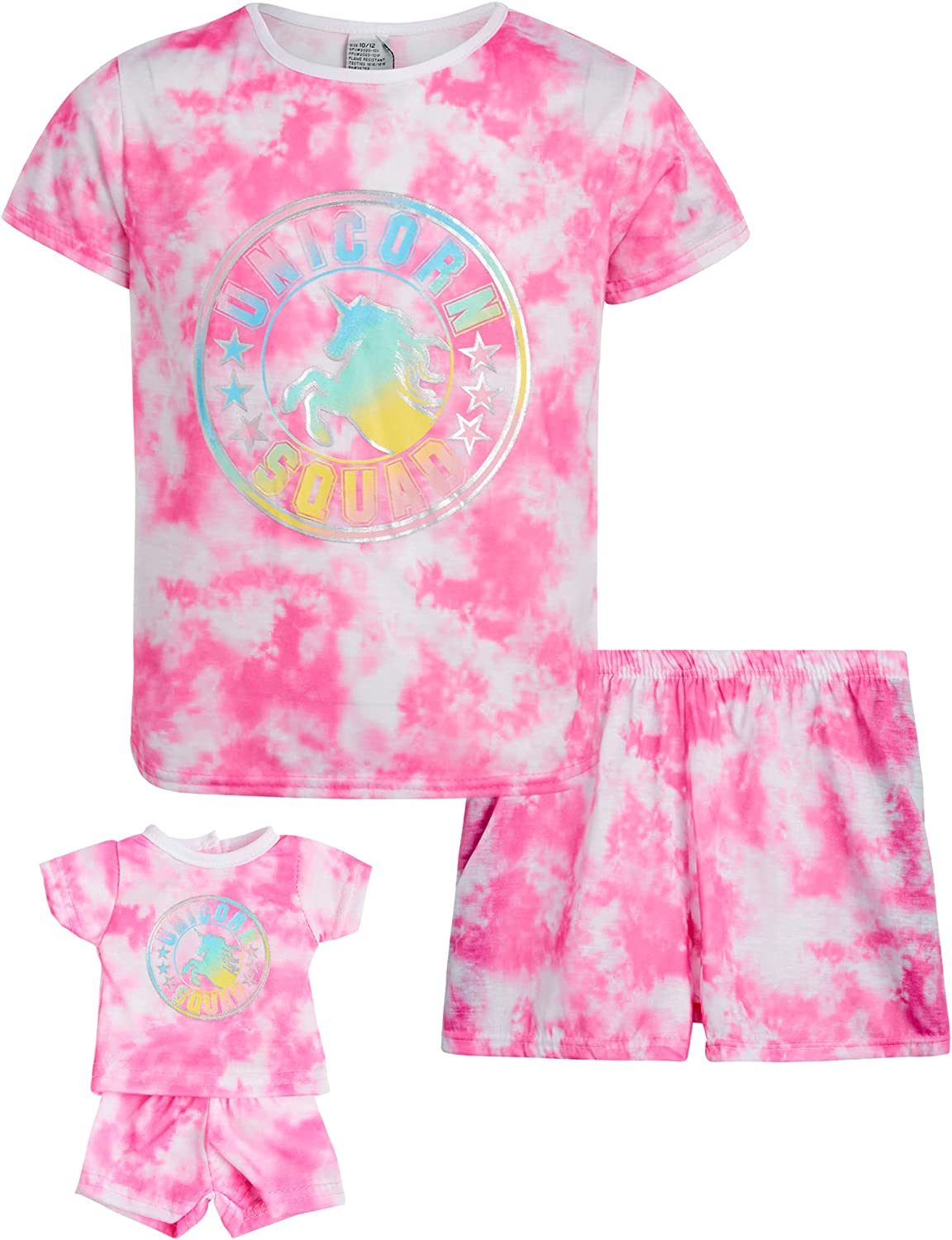 BFF & Me Girls' Pajama Set - 2 Piece T-Shirt and Sleep Shorts with Matching Doll Nightgown, Size S(6/6X), Pink Tie Dye Squad