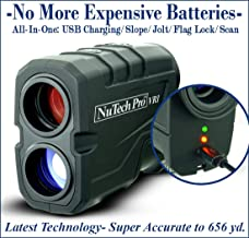NuTech Pro Rechargeable Golf Rangefinder with Slope USB Charging / 659 Yards. 6X Laser Range Finder. Flagpole Lock/Vibrate/Scan/Slope Rangefinder for Golf, Bow Hunting. Super Accurate and Fast.
