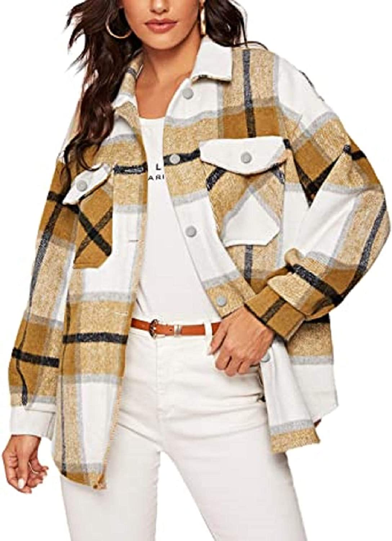 Women's Plaid Wool Blend Coat Casual Long Sleeve Plaid Loose Overshirt Jacket