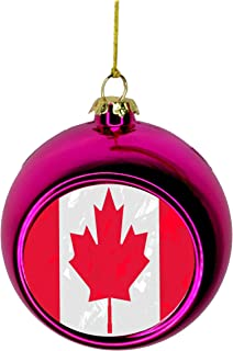 Lea Elliot Inc. Canada Flag Maple Leaf Grunge Bauble Christmas Ornaments Pink Bauble Tree Xmas Balls