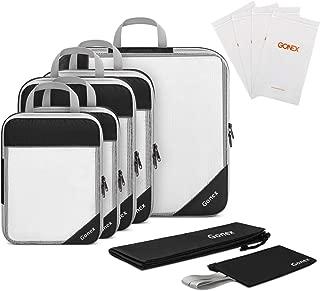 Gonex Compression Packing Cubes Travel Set 5pcs+ 1 Pocket+ 4 Reusable Zip Bags Black