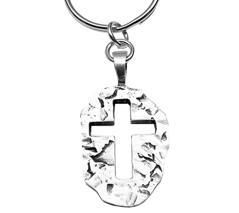 Jesus Is My Rock Pewter Cross for Christ Keychain