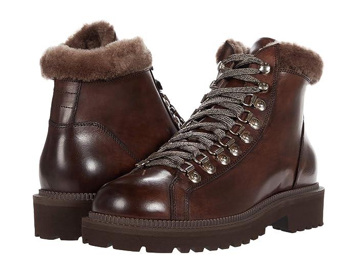 Mens Vintage Shoes, Boots | Retro Shoes & Boots eleventy Shearling Detail Hiker Boot Brown Mens Shoes $695.00 AT vintagedancer.com
