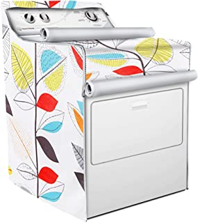Washer/Dryer Cover,Fit for Outdoor Top Load and Front Load Machine,Zipper Design for Easy Use,Waterproof Dustproof Moderately Sunscreen(W29D28H40in,Colorful Leaves)