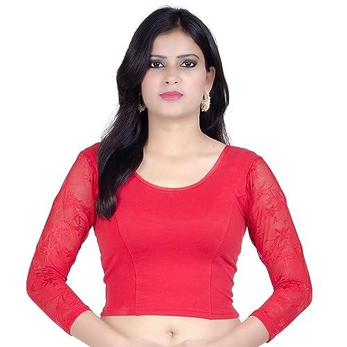 84bcc5255ebd8 Chandrakala Women s Stretchable Readymade Indian Ethnic Saree Blouse Crop  Top Choli (B101)