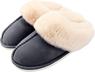 Auranso Ladies Slippers Fluffy Lined Warm Slippers Women Non Slip Cosy House Shoes for Indoor and Outdoor