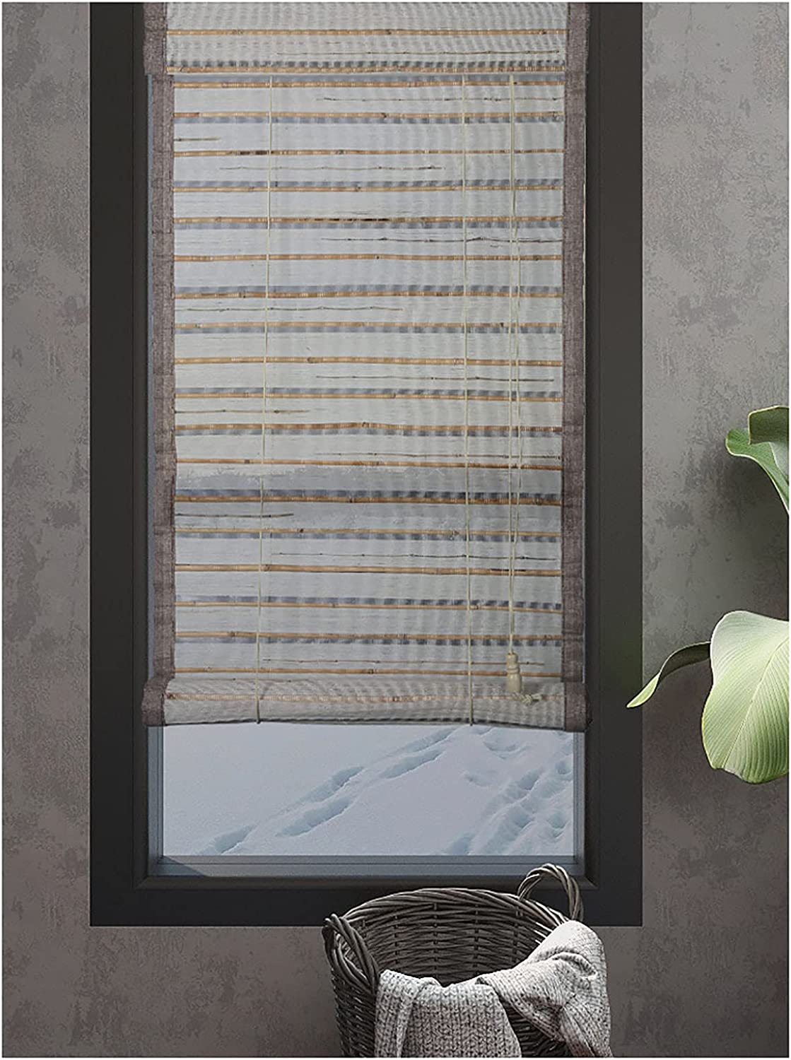 ACXZ Semi-Sheer Bamboo 25% OFF Roman Roll New arrival Up for Indoor Window L Blinds
