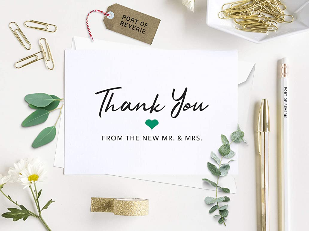 Wedding Thank You Cards with Envelopes, Folded Thank You from the New Mr. and Mrs. Greeting Card, Mr. and Mrs. Thank You Cards, 50 Count, 1:10