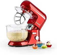 KLARSTEIN Bella Rossa 2g • Tilt-Head Stand Mixer • Dough Hook, Flat Beater, Wire Whip • 650 Watts • 1.1 HP • 5.5 qt Glass Bowl • Planetary Mixing Action • 6 Speeds • Multifunctional • Red
