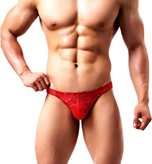 Men's Sexy Lace G-String Thong Underwear Low Rise T-Back Bikini Panties