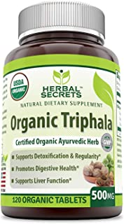 Herbal Secrets USDA Certified Organic Triphala 500 mg 120 Organic Tablet (Non-GMO)- Supports Liver Function, Detoxification & Regularity, Promotes Digestive Health*