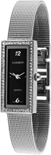 Jacques Laurent Women Slim Tank Watch with Swarovski Crystal Bezel and Mesh Band