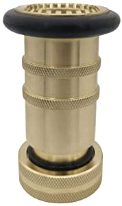 RosyOcean 1 Inch NPSH Fire Hose Nozzle Brass Fire Equipment Industial Heavey Duty Spray Jet Fog Nozzle