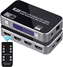 4K HDMI Switch 4x1, 4K@60Hz 4 in 1 Out HDMI Switcher with Audio Extractor Support ARC Function, HDMI2.0b HDCP 2.2 DTS-HD/Dolby-TrueHD/DTS/Dolby-AC3/ DSD (IR Remote Control)