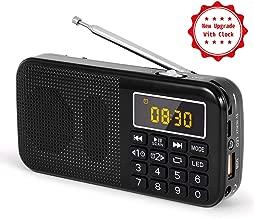 PRUNUS J-725C Reloj Mini Radio Ultra Fina Despertador Portable de FM MP3 con la Linterna de Emergencia, batería Recargable y reemplazable, Antena Larga. Almacena Estaciones automáticamente. (Negra)