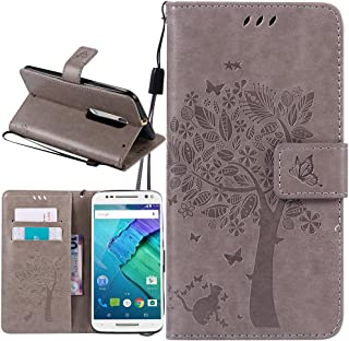 Moto X Pure Edition Case, Moto X Style Case, Harryshell Flip Pu Leather Wallet Case Cover with Stand Wrist Strap Card Slot for Motorola Moto X Style/Pure Edition 2015