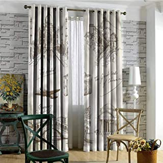 CostomDIY-drapes Grommet Curtain for Bathroom, Travel World Famous Landmarks Printed Darkening Curtains, 96