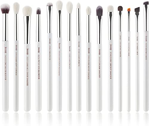 Jessup Eyeshadow Makeup Brushes Set 15pcs Natural Brushes for Concealer Eye Shadow Blending Brow Liner, White/Silver ...